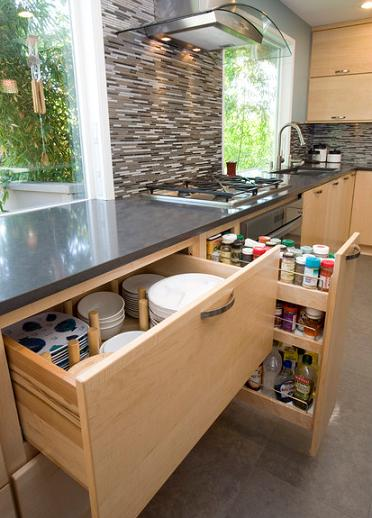 Custom Built Divider Drawers And Spice Storage (by Pacific Northwest Cabinetry)