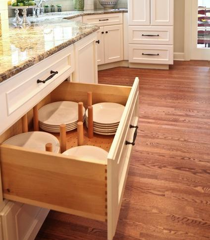 Dish Storage Drawer (by Sawhill Custom Kitchens And Design Inc)