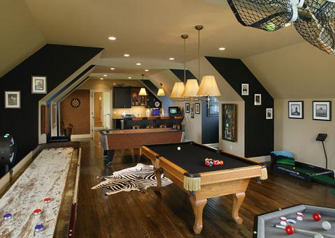 Family Game Room In Converted Basement (by Dewson Construction Company, photo by John Jenkins)