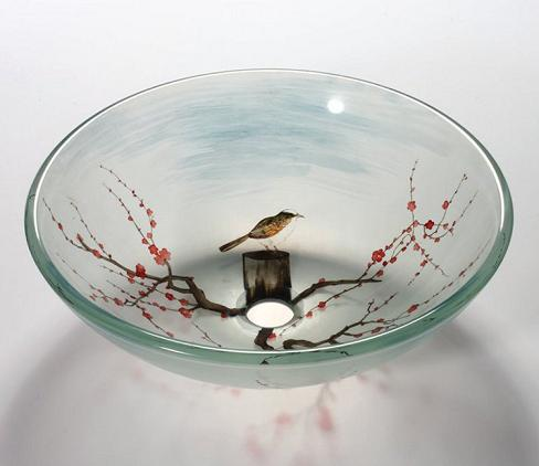 Floral In Autumn Painted Glass Vessel Sink From Legion Furniture