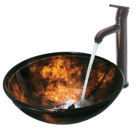 Fusion Brown And Gold Vessel Sink And Faucet Set From Vigo Industries