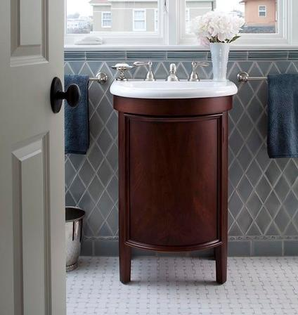 Glazed Harlequin Wall Tile With White Marble Basket Weave Floor Tile (by Lindy Donnelly)