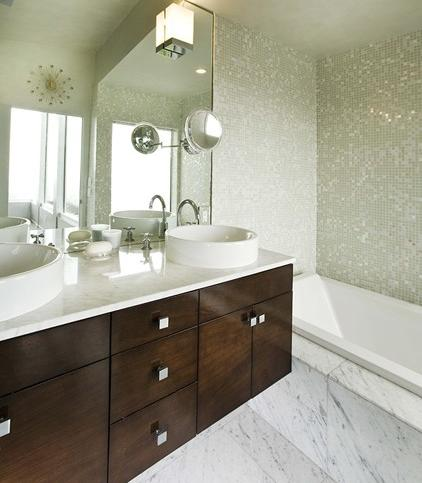Iridescent White And Gray Mosaic Tile Wall (by Mark English Architects AIA)