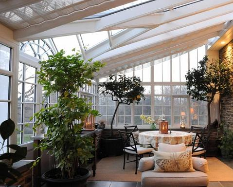 Just A Few Potted Trees Bring A Garden Ambiance Into This Sun Room (by Conservatory Craftsmen)