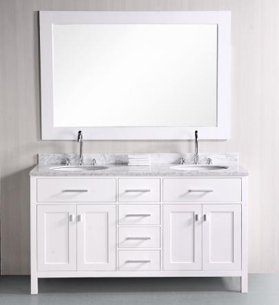London Double Bathroom Vanity With Carrara Marble Vanity Top And Mirror From Design Element