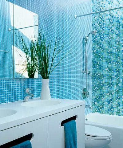 One Inch Square Tile In A Uniform Color Looks Less Cluttered Than A Mix (by Ogawa Fisher Architects, photo by Joe Fletcher Photography)