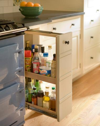 Pull Out Cabinets Let You Keep Your Most Used Cooking Items Right Where You Cook (by Heartwood Kitchen And Bath Cabinetry, photo by Eric Roth Photography)