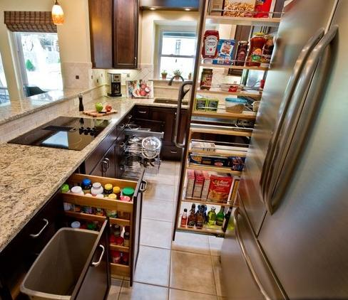 Small Kitchen Makes The Most Of Available Space With Pull Out Cabinets (by Curb Appeal & Pull Out Cabinets - Kitchen Cabinet Trends To Change The Way You Use ...