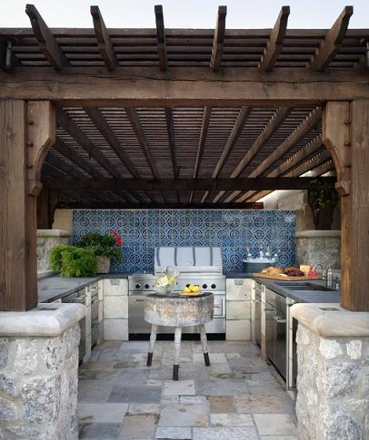 Southwestern Style Outdoor Kitchen (by Tiffany Farha Design)