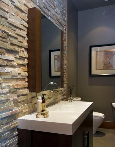 Stacked Stone Accent Wall (by Old World Kitchens And Custom Cabinets)