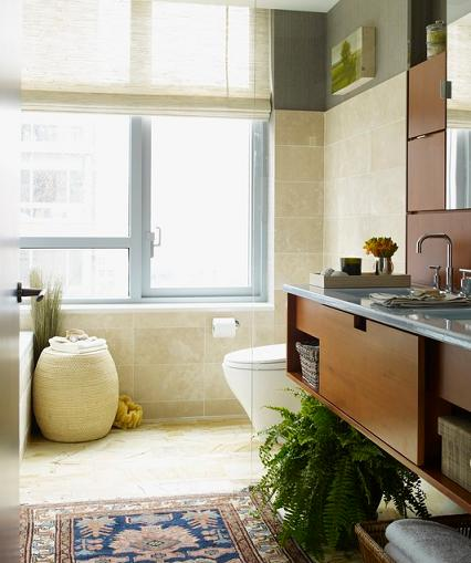 Travertine Is The Tile Of Choice For Big Dream Bathroom Remodels, But It Works Every Bit As Well In A Small Bathroom (by Thom Filica Inc)