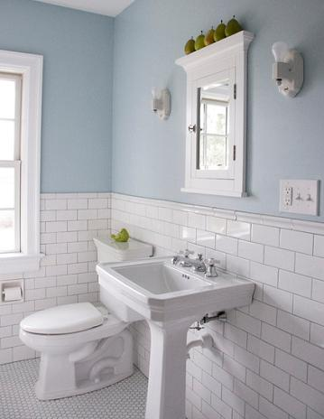 White Tile Produces A Clean, Traditional Look That Will Help Brighten Up A Small Bathroom (by Whitefield and Co LLC)