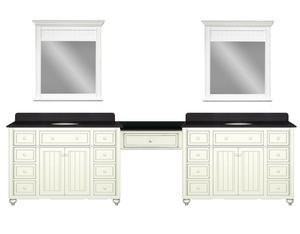 Cottage Retreat 120 Inch Double Vanity With Make Up Station From Sagehill Design