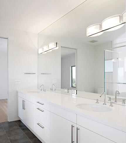Beau Double Bathroom Vanity With Full Wall Frameless Mirror (by De Mattei  Construction)