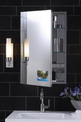 Medicine Cabinet With Built In LCD TV And MP3 Hookup From Robern