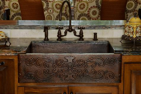 Copper Apron Sink With Scroll Detailing From Premier Copper Products