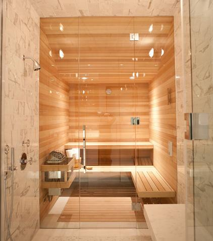 Custom Glass Fronted Sauna (design by Marsh and Clark Design, photo by Elisabeth Fall)