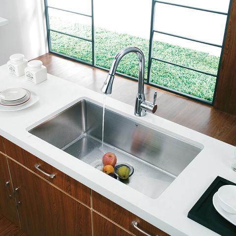 16 Gauge Stainless Steel Kitchen Sink With Sound Dampening Technology From Vigo Industries