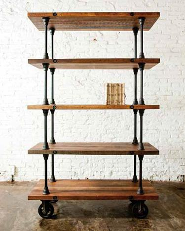 5-Tier Shelving Unit IN Reclaimed Hardwood And Cast Iron From Nuevo Living