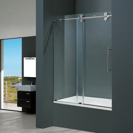 60 Inch Frameless Tub Door With Side To Side Slide Opening From Vigo Industries