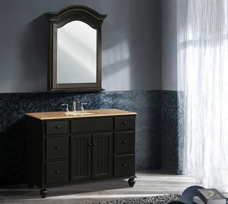 Alvina Single Sink Black Beadboard Bathroom Vanity From Stufurhome