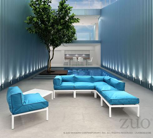 Copacabana Outdoor Sectional Set In Blue From Zuo Modern