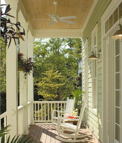 Front Porch With Ceiling Fan By Tongue And Groove