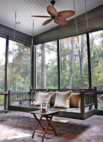 Porch Bed Swing With Ceiling Fan (by Hansen Architects)