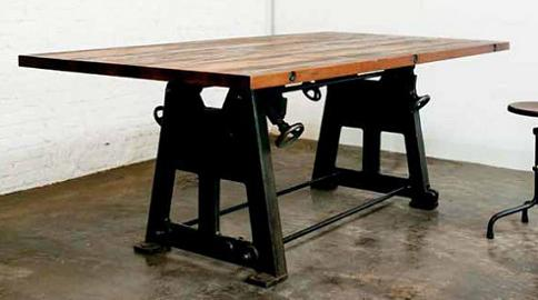 Reclaimed industrial furniture for an urban loft or art space press leg dining table in weathered oak and recycled cast iron from nuevo living watchthetrailerfo
