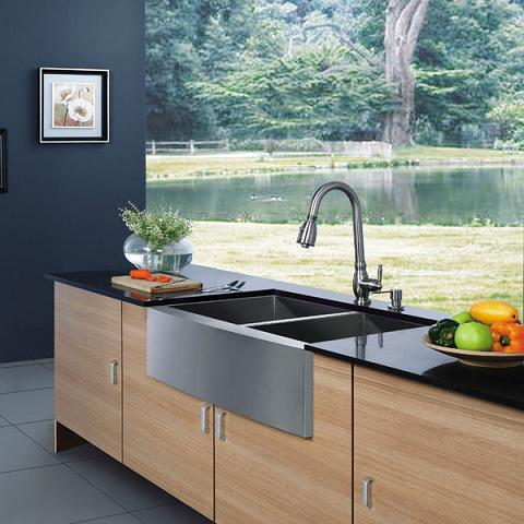 Stainless Steel Double Bowl Farmhouse Sink From Vigo Industries