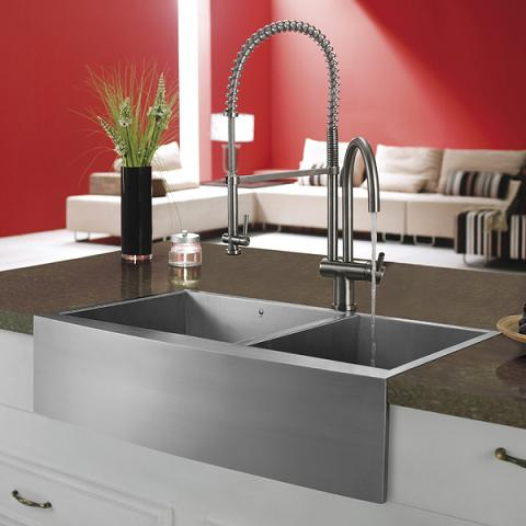 Stainless Steel Pull Down Spray Kitchen Faucet With Dual Spigots From Vigo Industries