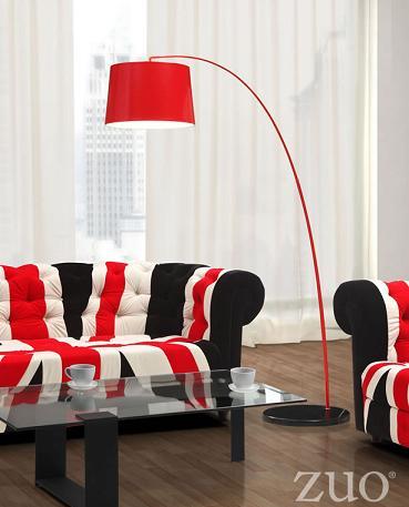 Twisty Floor Lamp In Red From Zuo Modern
