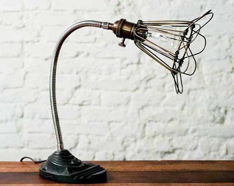 Vintage Flexible Desk Lamp With Vintage Lamp Cage From Nuevo Living