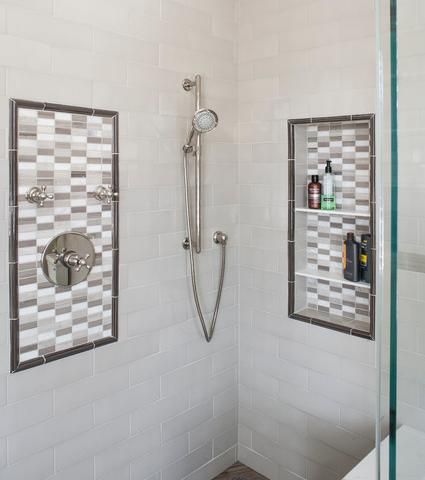A Basic Tile Border, Combined With A Decorative Tile Mosaic, Helps Make The Shower Hardware And Niche Stand Out Beautifully (By ALL Design)
