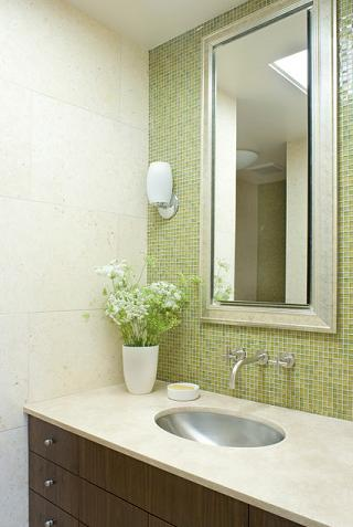 A Green Backsplash Is Simple To Install, But Can Give Your Whole Bathroom A Natural Spa-Like Vibe (by John Lum Architecture)