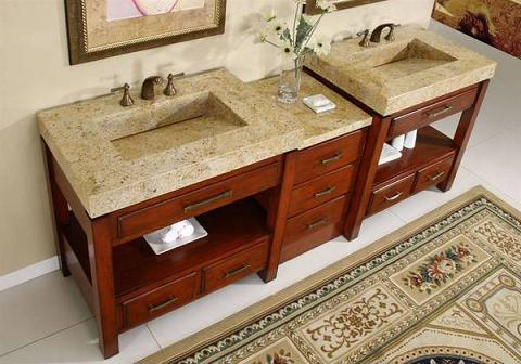 All Module Double Vanity With Kashmir Gold Granite Integrated Sinks From Silkroad Exclusive
