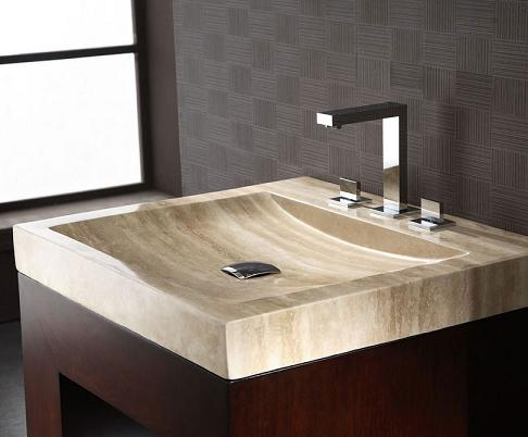 Beige Travertine Stone Bathroom Vanity Top With Integrated Bowl From Xylem