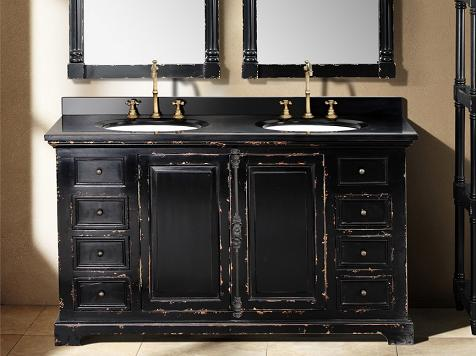 Genna Antique Black Double Bathroom Vanity From James Martin Furniture - Deals & Ideas - Weathered Bathroom Vanities For A Shabby Chic