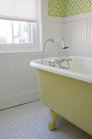 If You're Willing To Periodically Repaint, A Painted Cast Iron Tub Is A Great Way To Keep On Top Of Current Color Trends (by Amy Cuker)