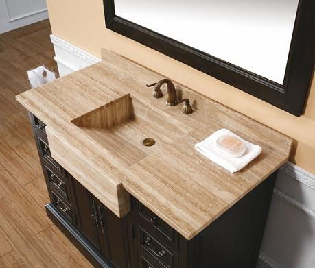 Malana Bathroom Vanity With Integrated Travertine Farmhouse Sink From James Martin Furniture