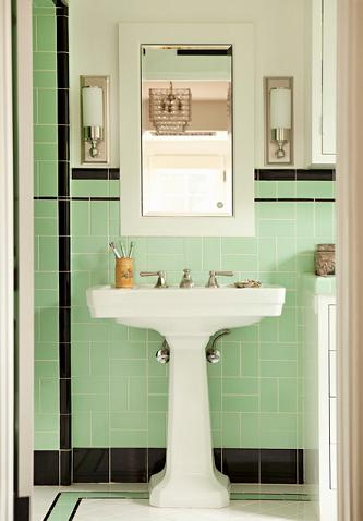 The Mint Green Tile In This Bathroom Combines A Trendy Modern Color With A 1920s Art Deco Vibe (Tim Barber LTD)