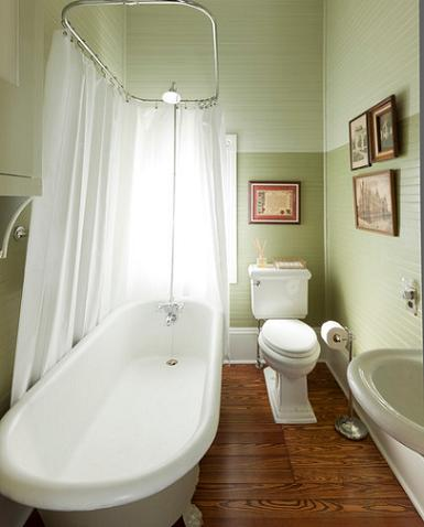 The Soft Green Walls And Rustic Pine Wood Floors Put A Colorful, Natural Twist On This 1890s Guest Bathroom (by Volz O'Connel, photo by Rick Patrick)
