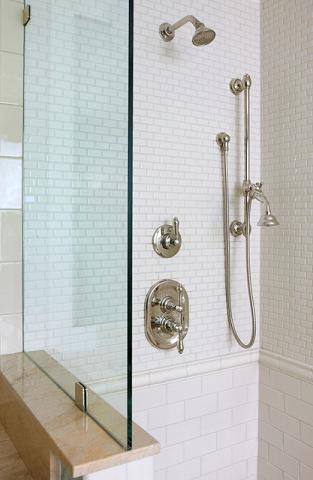 This Simple Crown Molding Style Tile Separates Two Different Sizes Of Subway Tile, Adding Texture And Character To The Shower Wall (by Vince Weber for Normandy Remodeling)