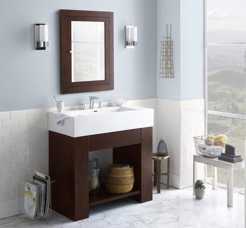 Zenia 36 Inch Bathroom Vanity With Ceramic Integrated Sink From RonBow