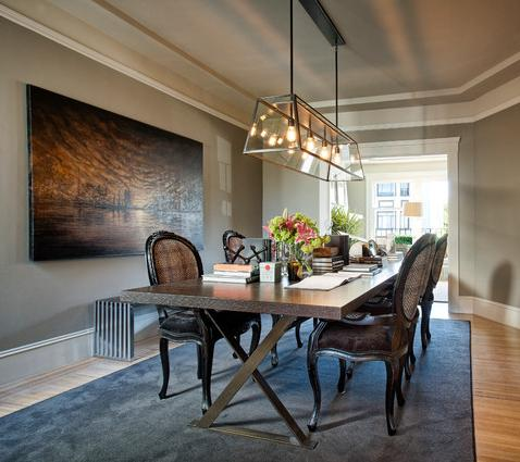 Contrasting Antique Chairs With A Modern Table Creates A Chic, Sophisticated Dining Set (by Todd Adams Design Services)