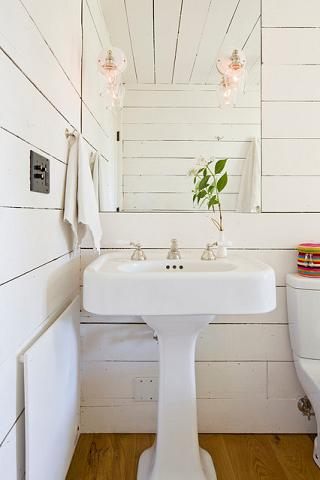 Less Than Perfect Paint Or Installation Of Plank Style Wood Walls Can Add Wonderful Rustic Charm To A Cottage Style Bathroom (by Jessica Helgerson Interior Design)