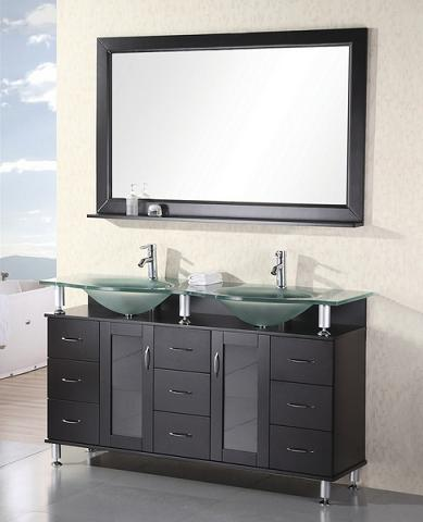 Redondo Double Bathroom Vanity With Integrated Glass Sinks From Design Element