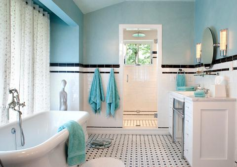 Simply Coordinating Your Paint And Towels Can Give The Bathroom A Pleasingly Unified Appearance (by Kathryn Long, photo by David Dietrich)