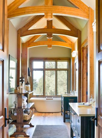 Structural Or Not, Wood Beams Or Planked Ceilings Can Make Just About Any Bathroom Look Absolutely Stunning (by Alan Mascord Design Associates Inc, photo by Bob Greenspan)