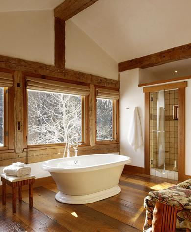 Wood Flooring And Other Wood Elements Can Give A Bathroom A Warm, Rustic, Homey Charm (by Carney Logan Burke Architects, photo by Matthew Millman)
